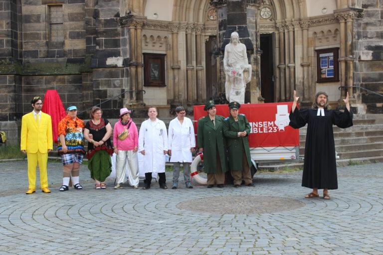 Auftakt des Ablassbrief-Verkaufs & Enthüllung des Originals vor der Peterskirche Leipzig © Julia Siebeky